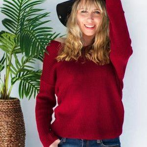 Sweaters - Mine All Mine Sweater in Burgundy